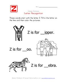 Letter Recognition: Letter Z - Fill in the Blank Worksheet