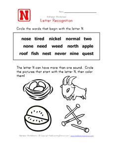 Letter Recognition: The Letter N Worksheet