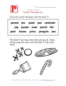 Letter Recognition: The Letter P Worksheet