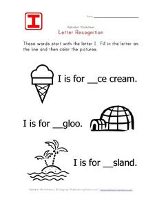 I Letter Recognition Worksheet