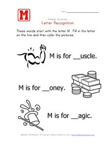 Letter Recognition: The Letter M - Fill in the Blank Worksheet