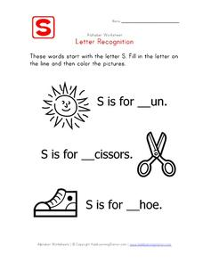 Letter Recognition: The Letter S - Fill in the Blank Worksheet