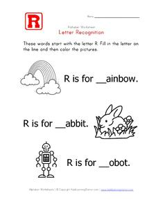 Letter Recognition: The Letter R - Fill in the Blank Worksheet