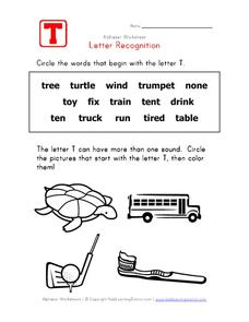Letter Recognition: The Letter T Worksheet