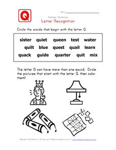 Letter Recognition: The Letter Q Worksheet