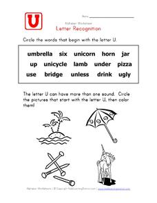 Letter Recognition: The Letter U Worksheet