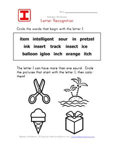 Letter Recognition: The Letter I Worksheet