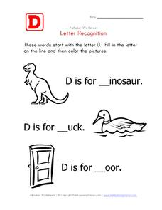 Letter Recognition: The Letter D - Fill in the Blank Worksheet