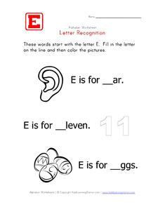 Letter Recognition: The Letter E - Fill in the Blank Worksheet