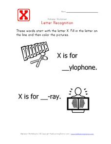 Letter Recognition: The Letter X - Fill in the Blank Worksheet