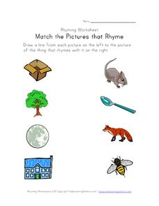 Rhyming Words: Match the Pictures that Rhyme Worksheet