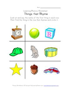 Learning Phonics Worksheet: Things That Rhyme: Part 1 Worksheet