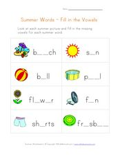 Summer Words - Fill in the Vowels Worksheet