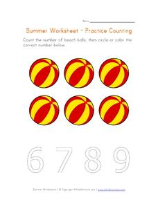 Summer Worksheet - Practice Counting to Six Worksheet