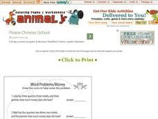 Animal JR: Word Problems/Money Worksheet
