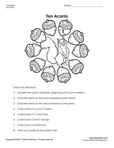 Ten Acorns Worksheet