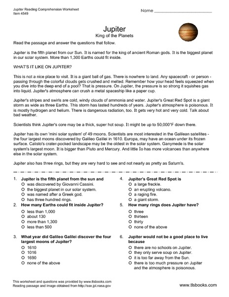 Jupiter - King of the Planets Worksheet for 5th - 6th Grade ...