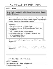 School-Home Links: Follow Directions Worksheet