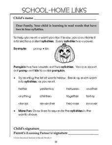 School-Home Links: Syllables Worksheet