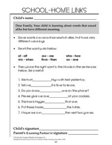 School-Home Links: Correct Words in Context Worksheet