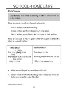 School-Home Links: Editing and Revising Worksheet
