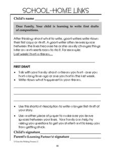 School-Home Links: First Drafts Worksheet