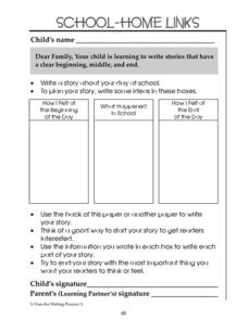 School-Home Links: Writing Stories Worksheet