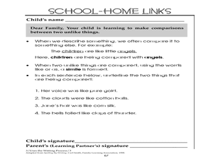 Making Comparisons- School-Home Links Worksheet