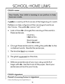 School-Home Links: Prefixes 2 Worksheet