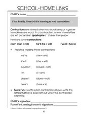 Learning About Contractions: School-Home Links Worksheet