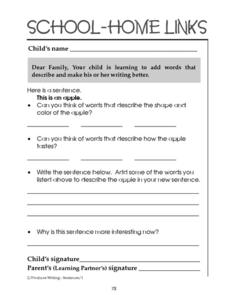 School-Home Links: Descriptive Writing Worksheet