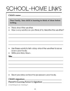 School-Home Links: Brainstorming Worksheet