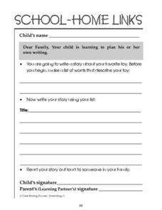 School-Home Links: Planning Writing Worksheet