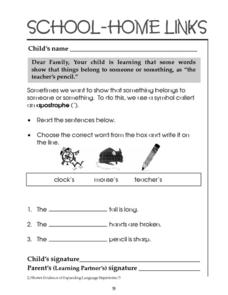 School-Home Links: Possession and Apostrophes Worksheet