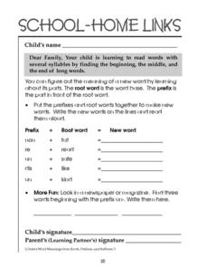 School-Home Links: Root Words and Prefix Worksheet