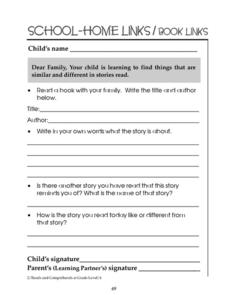 School-Home Links/Book Links - Similarities and Differences Worksheet