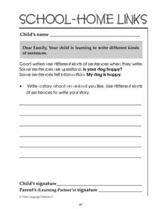 School-Home Links: Writing Sentences Worksheet