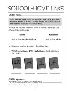 School-Home Links: Fiction and Nonfiction Worksheet