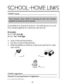 School-Home Links: Putting Sounds Together Worksheet