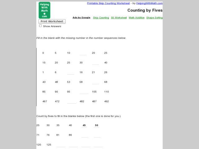 skip counting by fives worksheet for 2nd 3rd grade lesson planet. Black Bedroom Furniture Sets. Home Design Ideas