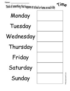 Think of Something that Happens at School or Home on Each Day Printables & Template