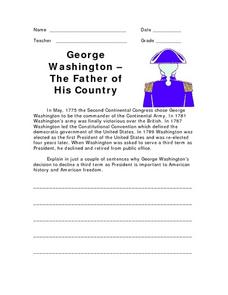 George Washington: The Father of His Country Worksheet