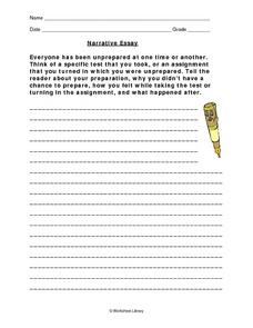 Narrative Essay Worksheet