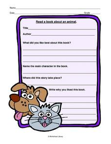 Read a Book About an Animal Worksheet