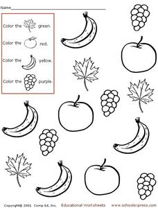 Fruit and Plant Coloring Worksheet