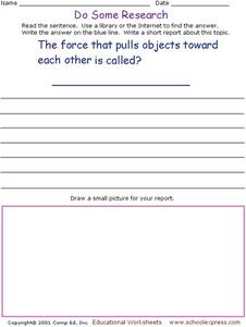 Do Some Research - The Force that Pulls Objects Together Worksheet