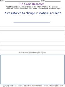 Do Some Research - Change in Motion Worksheet