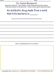 Do Some Research - Antibiotic Made From Mold Worksheet