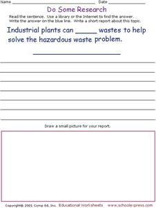 Do Some Research - Industrial Waste Management Worksheet