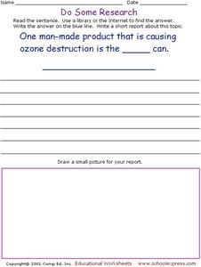Do Some Research - Ozone Destruction Worksheet